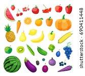 set of vegetarian food . vector ... | Shutterstock .eps vector #690411448