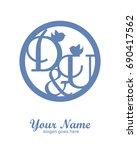 d u initial wedding decorative... | Shutterstock .eps vector #690417562
