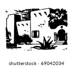 adobe hacienda   retro clipart... | Shutterstock .eps vector #69042034
