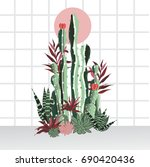 tropical house plants   Shutterstock .eps vector #690420436