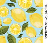 seamless yellow lemon pattern | Shutterstock .eps vector #690439246
