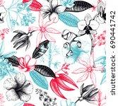 exotic plants background.... | Shutterstock . vector #690441742