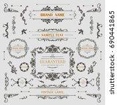 set of vintage decorations... | Shutterstock .eps vector #690441865