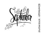 hello september hand lettering ... | Shutterstock .eps vector #690464428