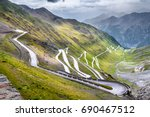 Passo dello Stelvio  - Stelvio pass in Italy, Ortler Alps, Italy - curvy road through mountains - stock photo