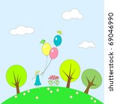 little girl with balloons on... | Shutterstock .eps vector #69046990