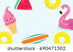 vector illustration of flamingo ... | Shutterstock .eps vector #690471502