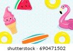 vector illustration of flamingo ... | Shutterstock .eps vector #690471502
