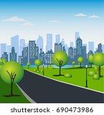 green park in urban city....   Shutterstock . vector #690473986