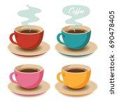 set of coffee cups. vector... | Shutterstock .eps vector #690478405
