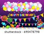 happy birthday vector set....   Shutterstock .eps vector #690478798