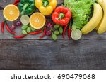 fresh vegetables and fruits for ... | Shutterstock . vector #690479068