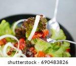 salad healthy food  | Shutterstock . vector #690483826
