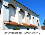 fortified medieval saxon church ... | Shutterstock . vector #690489742