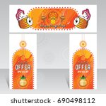 indian festival durga puja... | Shutterstock .eps vector #690498112