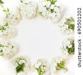 creative flat lay  white flower ... | Shutterstock . vector #690501202