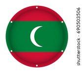 round metallic flag of maldives ... | Shutterstock .eps vector #690503506