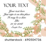 floral greenery invitation card | Shutterstock .eps vector #690504736