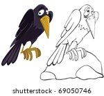 raven on the stone. color and... | Shutterstock .eps vector #69050746