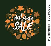 autumn sale. autumn leaves in a ...   Shutterstock .eps vector #690507892