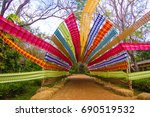 silk tunnel colorful in natural ... | Shutterstock . vector #690519532