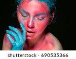 body art woman pink face beauty ... | Shutterstock . vector #690535366