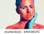 body art woman face portrait ... | Shutterstock . vector #690538192