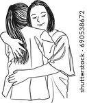 vector art drawing of mother... | Shutterstock .eps vector #690538672