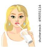 beautiful girl drinking. vector ... | Shutterstock .eps vector #690551116