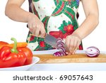 woman cutting onion isolated on ...