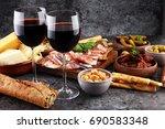 italian antipasti wine snacks... | Shutterstock . vector #690583348