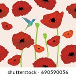vector illustration of poppies... | Shutterstock .eps vector #690590056
