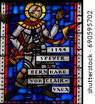 Small photo of WORMS, GERMANY - JULY 4, 2017: Stained Glass in Worms, Germany, depicting St Bernard of Clairvaux (1090 - 1153), a French abbot and the primary reformer of the Cistercian order.