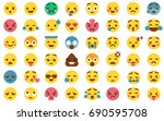 48 cute emoticon pack... | Shutterstock .eps vector #690595708