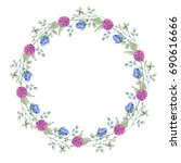 watercolor flower circle frame. ... | Shutterstock . vector #690616666
