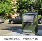 modern garbage bin outdoors.... | Shutterstock . vector #690627415
