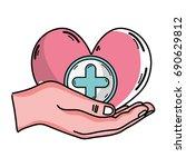 hand with heart medicine symbol ... | Shutterstock .eps vector #690629812