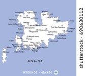 island of mykonos in greece... | Shutterstock .eps vector #690630112