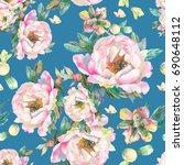 watercolor pink peonies with... | Shutterstock . vector #690648112