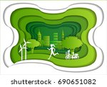 a girl is running in the green... | Shutterstock .eps vector #690651082