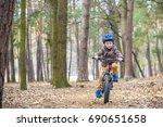 happy kid boy of 3 or 5 years... | Shutterstock . vector #690651658