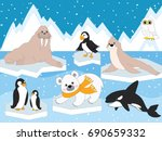 vector set with arctic animals... | Shutterstock .eps vector #690659332