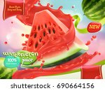 watermelon juice. sweet fruits. ... | Shutterstock .eps vector #690664156