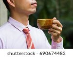 drinking coffee make you fresh... | Shutterstock . vector #690674482