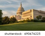 us capitol and green lawn... | Shutterstock . vector #690676225