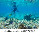 key west snorkelling in the... | Shutterstock . vector #690677962
