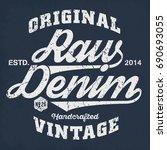 original vintage raw denim  ... | Shutterstock .eps vector #690693055