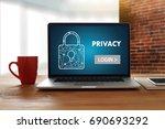 privacy access login...   Shutterstock . vector #690693292
