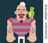 big strong sailor with tattoos... | Shutterstock .eps vector #690697618
