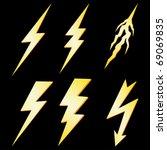lightning bolt set isolated on... | Shutterstock .eps vector #69069835